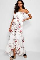 boohoo Floral Off Shoulder Ruffle Wrap Maxi Dress