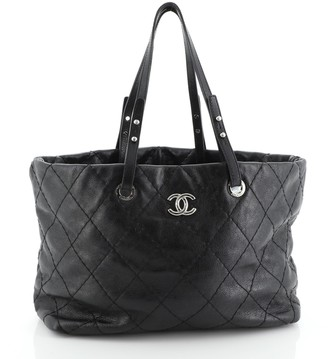Chanel On The Road Shopping Tote Quilted Leather Large