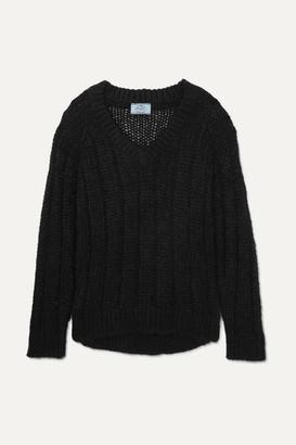 Prada Open-knit Mohair-blend Sweater - Black