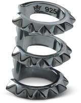 Kasun - Croc Triple Ear Cuff Black Silver Oxidised