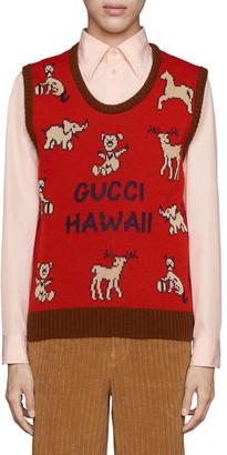 Gucci Hawaii Animal Jacquard Wool & Cotton Sweater Vest