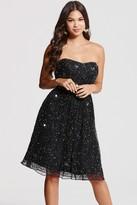 Little Mistress Black Bandeau Embellished Prom Dress