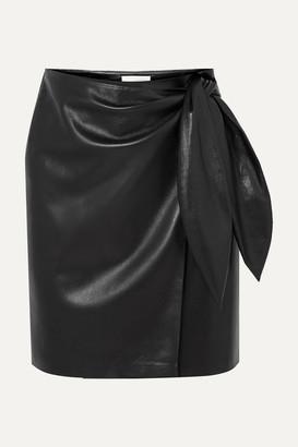 Nanushka Iowa Vegan Leather Wrap Mini Skirt - Black