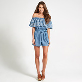 Apricot Blue Embroidered Bardot Playsuit
