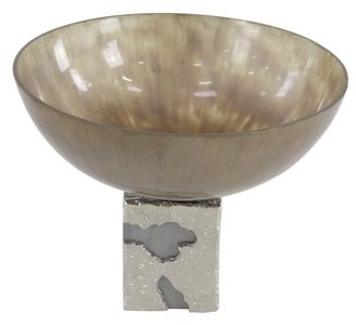 Decmode Contemporary 11 X 14 Inch Decorative Glass Bowl With Aluminum Base