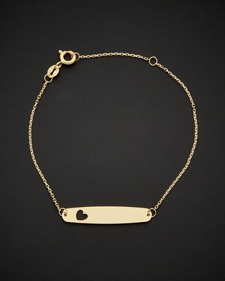Italian Gold 14K Id With Heart Adjustable Length Bracelet