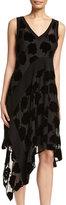 DKNY Sleeveless Velvet Leaf Midi Dress, Black