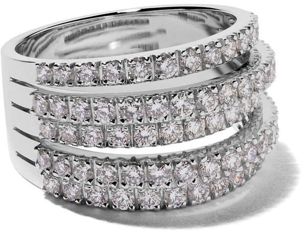 De Beers 18kt white gold Fine Line diamond ring