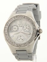 Invicta Women's 1649 Angel Collection Polished Steel Large Crystal Bezel Grey Polyurethane Watch