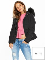 Miss Selfridge Petite Padded Faux Fur Trim Hooded Jacket