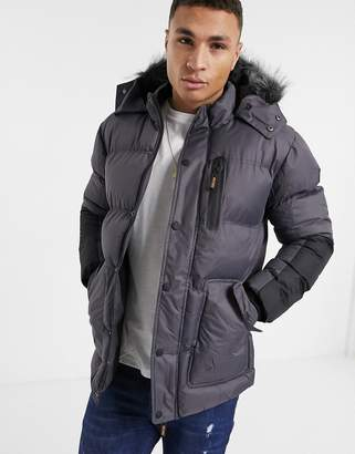 Soul Star padded parka jacket with faux fur hood in grey