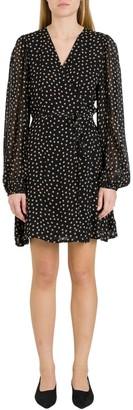 Ganni Polka Dots Wrap Dress In Georgette