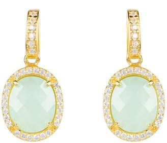 Latelita Beatrice Oval Gemstone Drop Earrings Gold Aqua Chalcedony