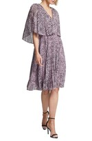 Halston Marble Print Popover Pleated Dress