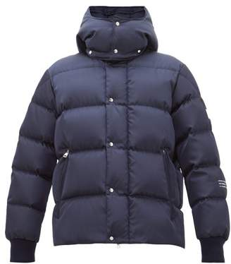 Moncler 7 Fragment - Logo Print Down Quilted Hooded Jacket - Mens - Navy