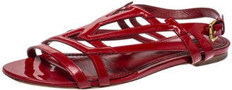 Louis Vuitton Red Patent Leather Crossing Logo Flat Sandals Size 38