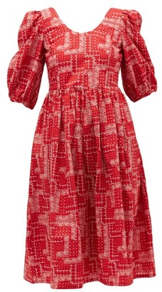 Shrimps Brock Paisley-embroidery Cotton-seersucker Dress - Womens - Red White