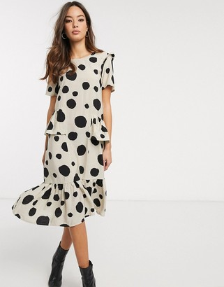 Vero Moda ruffle midi smock dress in mixed spot print