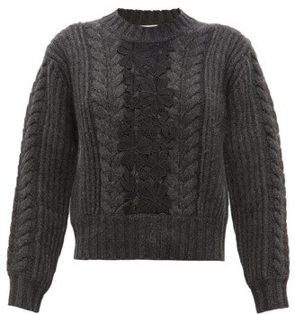 See by Chloe Floral Lace Insert Wool-blend Sweater - Womens - Dark Grey