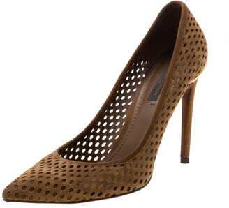 Louis Vuitton Brown Perforated Suede Eyeline Pointed Toe Pumps Size 38