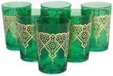 One Kings Lane Set of 6 Punto Moroccan Glasses - Green