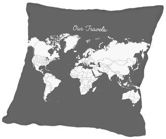 "East Urban Home Our Travels Throw Pillow Size: 14"" H x 14"" W x 2"" D, Color: Steel"