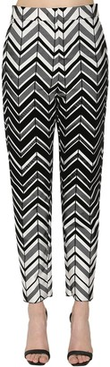 Krizia Mikado Flocked Chevron Pants