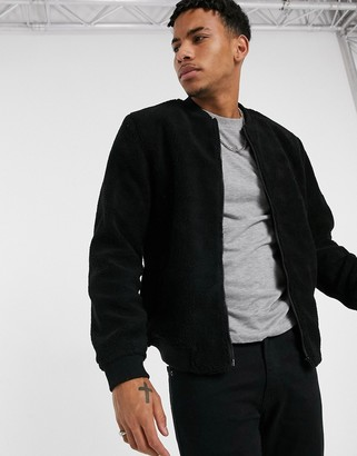 New Look borg bomber jacket in black