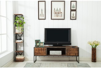 """Crawford And Burke Haight Natural Wood and Metal 60"""" Media Console - 60 W x 18 D x 21 H - 60 W x 18 D x 21 H"""