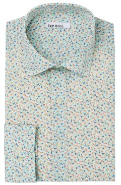 Bar III Men's Slim-Fit Performance Stretch Micro-Floral Print Dress Shirt, Created for Macy's