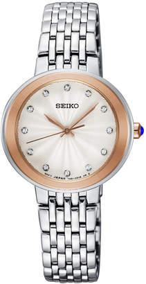 Seiko Women Crystal Stainless Steel Bracelet Watch 28.5mm