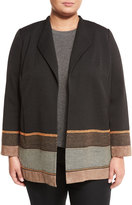 Lafayette 148 New York Bryce Jacket with Mixed-Media Hem, Black Multi, Plus Size