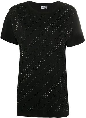 Liu Jo short sleeve diagonal rhinestone T-shirt