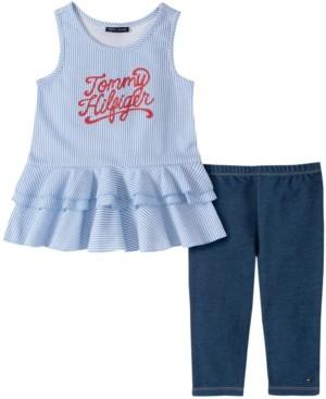Tommy Hilfiger Little Girls Vertical Stripe Tunic with Faux Knit Denim Legging, Two Piece Set