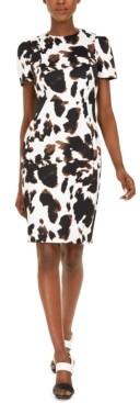 Calvin Klein Petite Short-Sleeve Cow-Print Dress