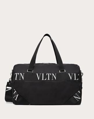 Valentino Garavani Uomo Nylon Duffle Bag With Vltn Ribbon Handles Man Black Polyamide 90%, Acrylic 10% OneSize