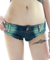 Yollmart Women's Low Rise Mini Denim Shorts Thong Cheeky Jeans Shorts