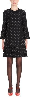 Valentino VLogo Print Frill Tiered Dress