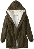 URqueen Women's Winter Fur Hooded Padded Parka Coat Jacket XL