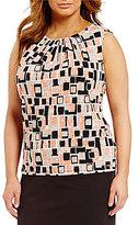 Calvin Klein Plus Pleat Neck Sleeveless Printed Matte Jersey Shell