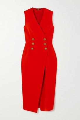 Balmain Crepe Midi Dress - Red