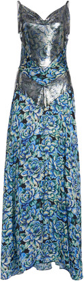 Paco Rabanne Floral-Print Chainmail And Crepe Maxi Dress