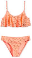 Roxy Palm Paradise Flutter 2-Pc. Crochet Detail Bikini Top & Bottoms Set, Big Girls (7-16)
