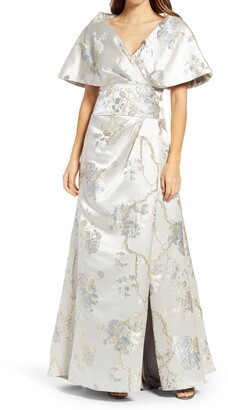 Tadashi Shoji Floral Embroidery Bell Sleeve Satin A-Line Gown