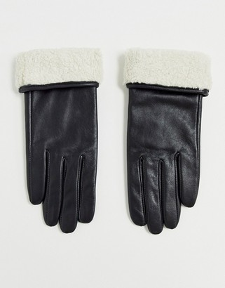 ASOS DESIGN leather gloves with touch screen and borg trim in black