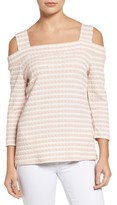 KUT from the Kloth Women's Fridi Texture Stripe Cold Shoulder Top