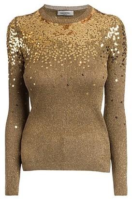 Valentino Degrade Sequin Ribbed Sweater