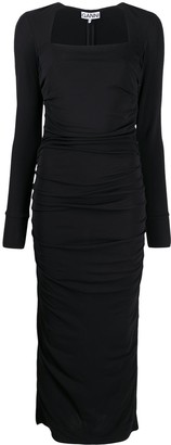 Ganni Square-Neck Long-Sleeve Dress