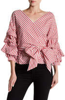 Do & Be Do + Be Puffy Sleeve Striped Wrap Top