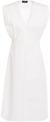 Theory Pleated Cotton-blend Twill Dress